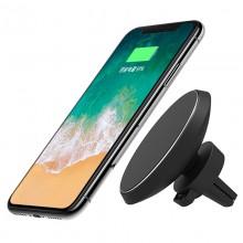 Автомобильный магнитный держатель для телефона в дефлектор с беспроводной зарядкой W3